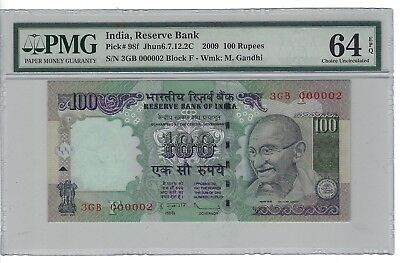 P-98f 2009 100 Rupees, India Reserve Bank, PMG 64EPQ SERIAL # 000002 (TWO)