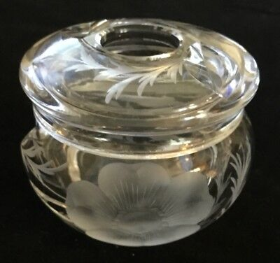 Vintage Cut Glass Hair Receiver Cotton Ball Vanity Container