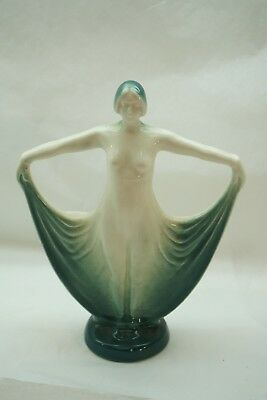 VINTAGE ART DECO STATUE LADY NUDE DANCER 1920s POTTERY SPILL VASE 10in TALL