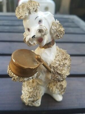 Poodle collectable figurine white / gold spagetti porcelain