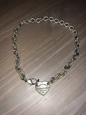 STERLING SILVER Tiffany & Co. Heart Charm Rolo Link Chain Necklace