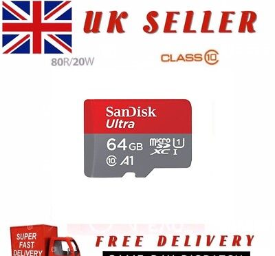 SanDisk Ultra 64 GB micro SD SDXC Memory A1 Card UHS-I Class 10 with adapter