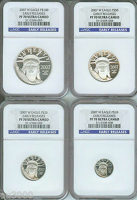 2007-W 4-COINS SET PROOF PLATINUM 1.85 Oz. NGC PR70 PF70 EARLY RELEASES ER !