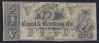 $5 1850's New Orleans, Louisiana  UNCIRCULATED REMAINDER - Choice Vignettes!