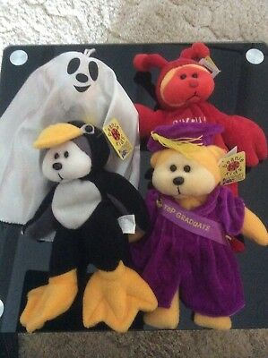 Beanie Kids  Wobble Penguin, Scholar Graduate, Pinchy Lobster And Spooky Ghost.