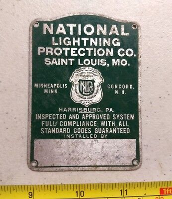 Vintage National Lightning Protection Co St Louis MO Metal Advertising Emblem