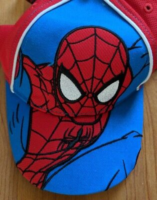 Boy's Marvel Spiderman Hat Velcro Adjustable One Size NEW WITH TAGS Red Blue