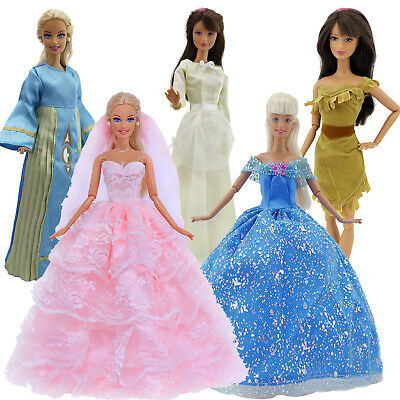 5 Pcs Handmade Princess Party Dress Gown Clothes For Barbie Doll Accessories