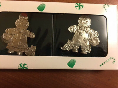 Longaberger Set of 2 - Roger & Ginger Pewter Ornaments - New in Box