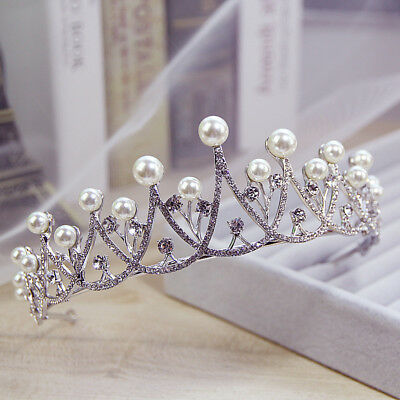 Pearl Crystal Wedding Bridal Tiara Crown Rhinestone Hair Band Jewelry Headband