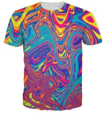 Oil Spill / Psychedelic Swirl of Vibrantfor  3D Printed Women/Men's T-Shirts