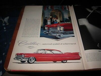 1959 Vintage Print Ad CADILLAC Red Car Broadmoor Hotel Gowns By John Carter