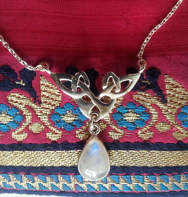042 Celtic Rainbow Moonstone necklace Solid 925 Sterling Silver rrp$79.95