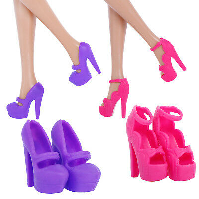 2 Set Fashion Waterproof High-heeled Sandals Accessories Clothes For Barbie Doll
