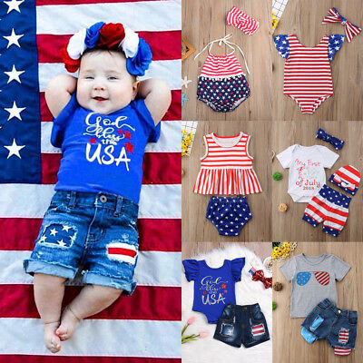 2018 Newborn Baby Girl American Flag Outfits Romper Tops+Shorts Jeans Clothes US