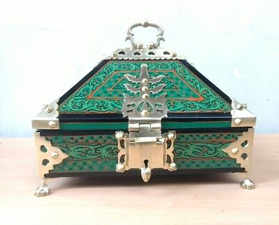 Ancient Treasure Jewelry Box Wooden Mural Painted Brass Trinket Dowry Netoor box