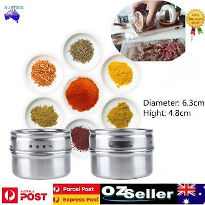 12/24/36PCS Spice Jars Tin Chicken Mental Container Barbecues Magnetic Clear Lid