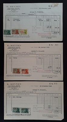 SCARCE 1949-50 Belgium lot of 3 Invoice Receipts each with Revenue stamps Used