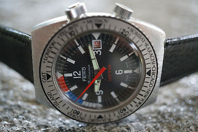 Vintage Swiss FERO Diver GMT Date handwinding HAU 38 mm for repair from 1 Euro