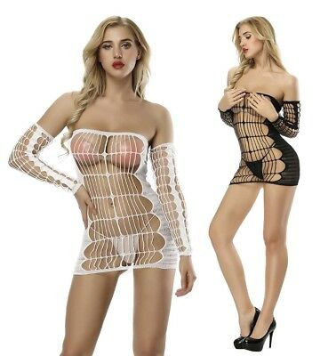 Hot Sexy Lingerie Womens Black Hollow Out Fishnet Bodysuit Body Stocking Dress