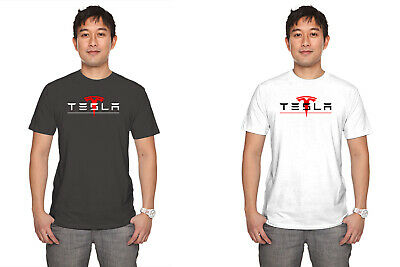 TESLA logo motor electric car enginer technology men white t-shirt 100% cotton