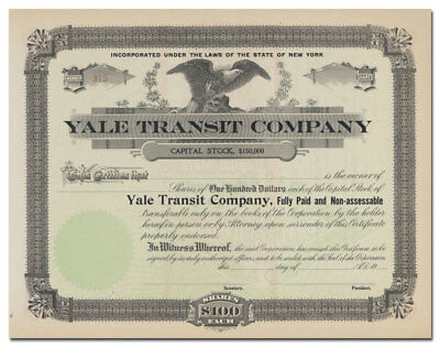 Yale Transit Company Stock Certificate (Great Lakes Shipping Line)