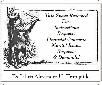 Personalized Ex Libris Bookplate For Institutional  Use. Urging Return.
