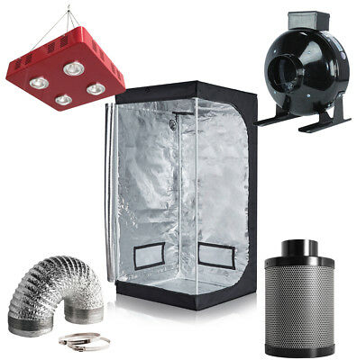 "800W LED Grow Light +32''x32''x63'' Grow Tent+4"" Inline Fan Filter Ducting Combo"