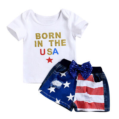 2PCS Summer Baby Kids Girls T-shirt Tops+Jeans Pants Shorts Outfits Clothes Set