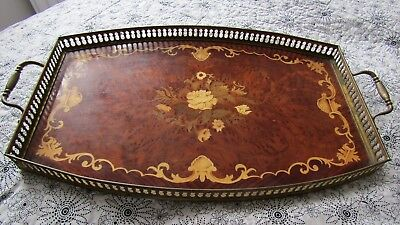 Vintage Inlaid Wooden Tray with a Solid Brass Balcony ~ 44cm x 28cm