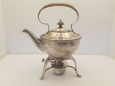 Vintage Silver Plated Gu Epns 5764 Teapot W/Bamboo Cover Handle & Burner Stand