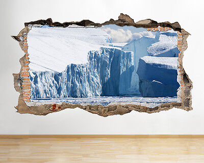 S486 Ice Bergs Glacier Ocean Melt Smashed Wall Decal 3D Art Stickers Vinyl Room