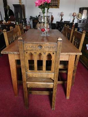 Stunning Large Reclaimed Antique Oak Refectory Table & 8 Gothic Chairs