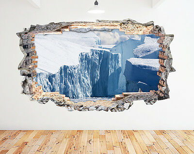 N486 Ice Bergs Glacier Ocean Melt Smashed Wall Decal 3D Art Stickers Vinyl Room