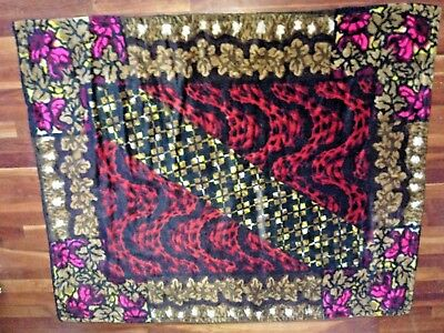 Vintage Victorian Fuchsia Roses Leaves Red Leopard Plaid Mohair Sleigh Blanket