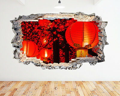 Q275w Lanterns Colours Living Hall Smashed Wall Decal 3D Art Stickers Vinyl Room