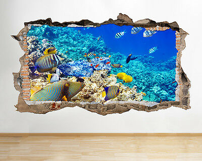 W192 Aquarium Fish Tank Water Living Room Wall Decal Poster 3D Art Stickers Viny
