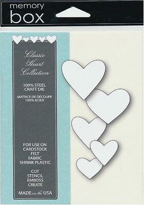 Memory Box Die Classic Heart Collection Stanzschablonen Herzen bis 3,8x3,8 cm