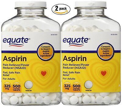 Equate Aspirin 325 mg, Original Strength, 500 Coated Tablets, Pain Reliever...