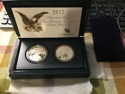 2012 American Eagle San Francisco Two Coin Silver Proof Set In Origional Pack