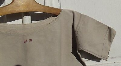 Antique Vintage French Linen Smock Workwear Dress Chore Tunic Almond Coffee