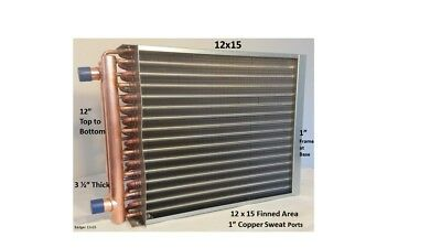 """Water to Air Heat Exchanger 12 x 15~~1"""" Copper ports w/ EZ Install Front Flange"""