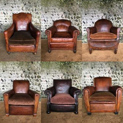 Selection Of Restored Vintage Leather Library Club Arm Chairs - Mid Century