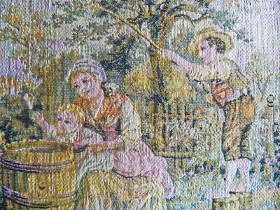 Antique French aubusson figural-pictoral tapestry fabric panel Creuse verdure