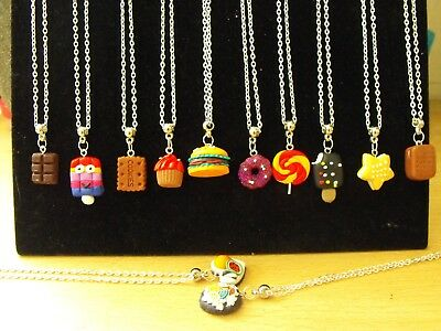 Wholesale Joblot 12 Necklaces, Fimo Food Pendant.doughnut,ice Cream, Party Bags