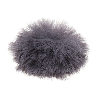 Outdoor Microphone Windscreen Wind Muff Fur Cover for Lapel Mic Silver Gray