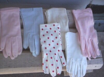 Vintage Glove Lot Size Small 6 Pairs Pink Blue White Hansen For Dress Or Theater