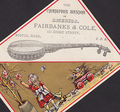Antique 1880's Fairbanks & Cole Banjo Boston American Business Advertising Card