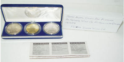 1994 Marshall Island Christmas Angel 3 Pc Silver Coin Set Blessed By Father Wise