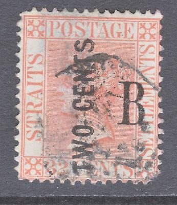 1883 British PO in Siam 2 Cent on 32 Cent CC  `B` Overprint Used.Thinned on back